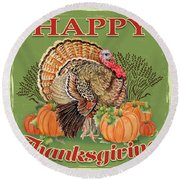 Round Beach Towel featuring the painting Thanksgiving-b by Jean Plout