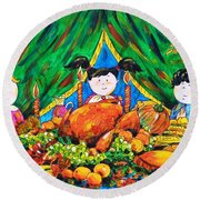 Thanksgiving Day Round Beach Towel