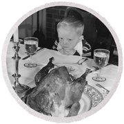 Thanksgiving Dinner Round Beach Towel