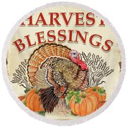 Round Beach Towel featuring the painting Thanksgiving-e by Jean Plout