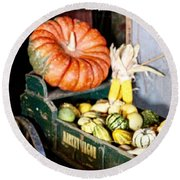 Thanksgiving  Harvest      Round Beach Towel by MaryLee Parker