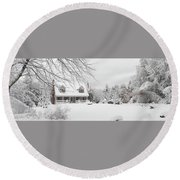 Thanksgiving In White Round Beach Towel