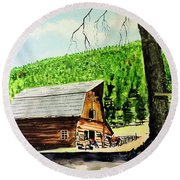 Round Beach Towel featuring the painting That Barn From That Movie by Tom Riggs