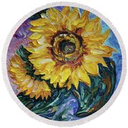 That Sunflower From The Sunflower State Round Beach Towel