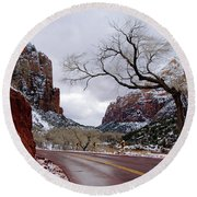 That Tree In Zion Round Beach Towel by Daniel Woodrum