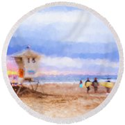 That Was Amazing Watercolor Round Beach Towel