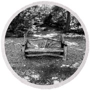 Round Beach Towel featuring the photograph That Weird Bench One by Robbie Masso