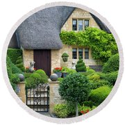 Round Beach Towel featuring the photograph Thatch Roof Cottage Home by Brian Jannsen