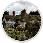 Round Beach Towel featuring the photograph Thatched Cottage by Baggieoldboy