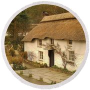 Thatched Cottage By Ford  Round Beach Towel by Richard Brookes