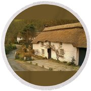Thatched Cottage By Ford  Round Beach Towel