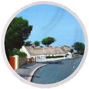 Thatched Cottages, Dunmore East Round Beach Towel