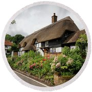 Thatched Cottages In Micheldever Round Beach Towel