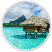 Round Beach Towel featuring the photograph Thatched Roof Honeymoon Bungalow On Bora Bora by IPics Photography