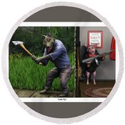 That's What You Think Wolf Round Beach Towel by Dave Luebbert
