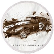 The 1965 Ford Cobra Mustang Round Beach Towel