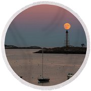 The 2016 Supermoon Balancing On The Marblehead Light Tower In Marblehead Ma Round Beach Towel