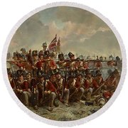 Round Beach Towel featuring the painting The 28th Regiment At Quatre Bras by Elizabeth Butler