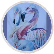 The 3 Flamingos Round Beach Towel