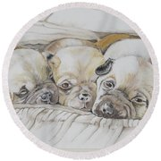 The 3 Puppies Round Beach Towel