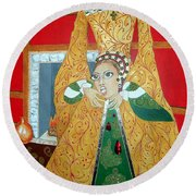 The 5th, Beheaded -- Tudor Portrait, Catherine Howard, #3 In Famous Flirts Series Round Beach Towel