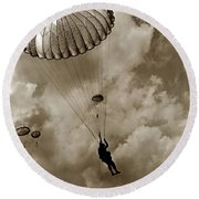 The 82nd Airborne  Hits The Silk Fort Ord 1953 Round Beach Towel