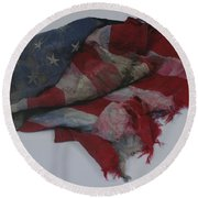 The 9 11 W T C Fallen Heros American Flag Round Beach Towel by Rob Hans
