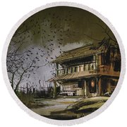 Round Beach Towel featuring the painting The Abandoned House by Tithi Luadthong