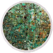 Round Beach Towel featuring the painting The Abstract Concept by Carmen Guedez