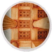 Round Beach Towel featuring the photograph Athens, Greece - The Academy Entry Soffit by Mark Forte