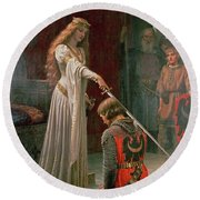 The Accolade Round Beach Towel by Edmund Blair Leighton