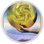 The Ace Of Coins Round Beach Towel