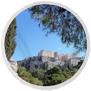 Round Beach Towel featuring the photograph The Acropolis by Constance DRESCHER