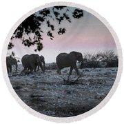 Round Beach Towel featuring the digital art The African Elephants by Ernie Echols