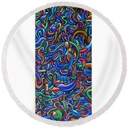 The After Party, Another Party - Chromatic Abstract Painting - Ai P. Nilson Round Beach Towel