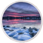 Round Beach Towel featuring the photograph The Afterglow by Edward Kreis