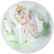The Age Of Beauty Round Beach Towel