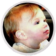 Round Beach Towel featuring the photograph The Age Of Innocence by Barbara Dudley