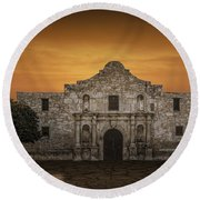The Alamo Mission In San Antonio Round Beach Towel by Randall Nyhof