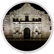 The Alamo On Halloween Round Beach Towel