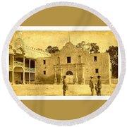 Round Beach Towel featuring the photograph The Alamo San Antonio Texas Circa 1880 Albumen Photograph by Peter Gumaer Ogden