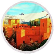 The Alhambra Of Granada Round Beach Towel