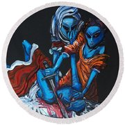 The Alien Judith Beheading The Alien Holofernes Round Beach Towel