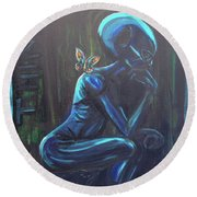 The Alien Thinker Round Beach Towel