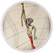 Round Beach Towel featuring the drawing The Aliens Least Favorite Dream by Similar Alien