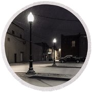 Round Beach Towel featuring the photograph The Alley by Kendall McKernon