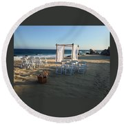 The Alter By The Sea Round Beach Towel