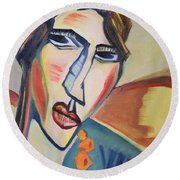The Amber Necklace Round Beach Towel