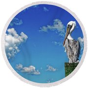 The American Brown Pelican Round Beach Towel