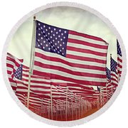 The American Flag Proudly Stands Round Beach Towel by Luther Fine Art